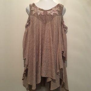 Gimmicks cold shoulder flowy shimmery blouse